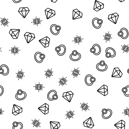 Golden Expensive Jewellery Seamless Pattern Vector. Ring, Diamond And Facet Gemstone Jewellery Monochrome Texture Icons. Engagement, Wedding Or Anniversary Presents Template Flat Illustration