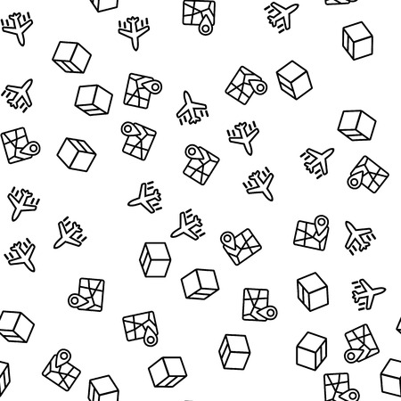 International Delivery Seamless Pattern Vector. International Logistick By Airplane, Map With Marker And Closed Box Monochrome Texture Icons. Global Shipping Template Flat Illustration Vektorové ilustrace