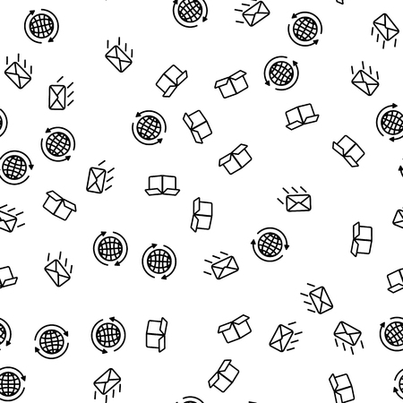 Worldwide Express Delivery Seamless Pattern Vector. Delivery Letter, Opened Container And Earth Planet Monochrome Texture Icons. International Global Logistick Template Flat Illustration