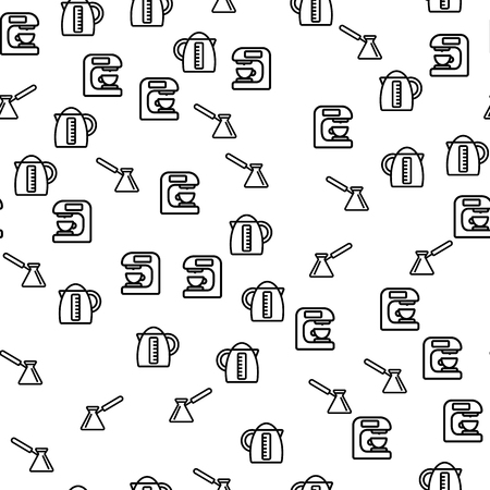 Coffee Brewing Method Seamless Pattern Vector. Coffee Machine, Electric Teapot And Turk Barista Equipment For Aroma Espresso And Capuccino Monochrome Texture Icons. Template Flat Illustration