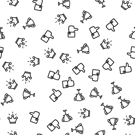 Congratulation Winner Seamless Pattern Vector. Thumb Up Applique, Cup Of Winner And Crown Monochrome Texture Icons. Victory Ceremony With Awards And Prize Template Flat Illustration