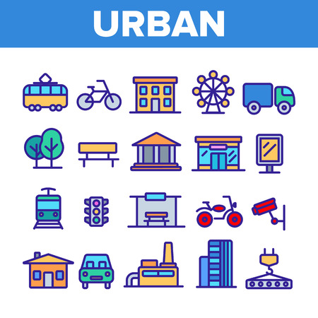 Urban, City Life Thin Line Icons Set. Urban Architecture, Transportation, Industry Linear Illustrations. Municipal Government Buildings. City Traffic, Road Safety, CCTV Monitoring Contour Pictograms Illustration