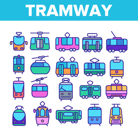 Tramway, Urban Transport Thin Line Icons Set. Tramway, Eco-Friendly Vehicle Linear Illustrations. Funicular, Cable Wagon, Subway Passenger Transportation. Vintage Tourist Sightseeing Tram Illustration