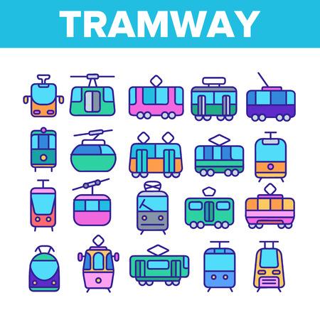 Tramwaj, zestaw ikon cienka linia transportu miejskiego. Tramwaj, ilustracje liniowe pojazdów przyjaznych dla środowiska. Kolejka linowa, wagon linowy, transport pasażerski metra. Zabytkowy tramwaj turystyczny Ilustracje wektorowe