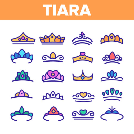 Tiara, Royal Accessory Vector Thin Line Icons Set. Tiara, Diadem Types Linear Illustrations. Queen Coronation, Princess, Nobility Headwear. Bridal Hair Decoration. Beauty Contest, Miss Award