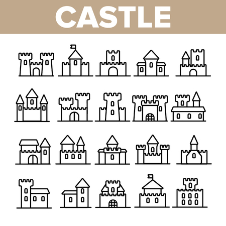 Castle, Medieval Buildings Linear Vector Icons Set. Castle, Palace Facade Symbols Pack. Exterior Simple Pictograms Collection. Isolated Fortress Signs. Royal Mansion And Towers Outline Illustrations