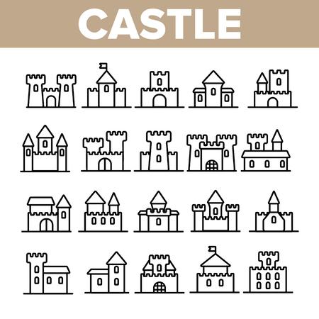 Château, ensemble d'icônes vectorielles linéaires de bâtiments médiévaux. Château, pack de symboles de façade de palais. Collection de pictogrammes simples extérieurs. Signes De Forteresse Isolés. Illustrations de contour du manoir royal et des tours