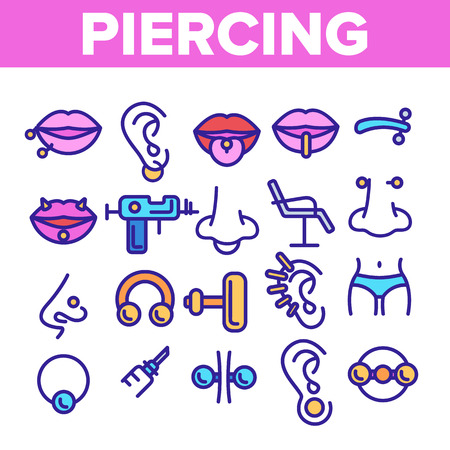 Piercing Salon Theme Linear Vector Icons Set. Piercing Earrings, Ball closure Ring Symbols Pack. Stainless Steel Jewelry Pictograms. Professional Tool, Equipment Signs, Outline Illustrations