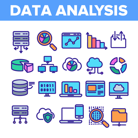Data Analysis, Web Storage Linear Vector Icons Set. Data Science Thin Line Contour Symbols. Server, Database, Cloud Computing. Diagrams, Statistics, Schemes. Information Analytics Illustrations