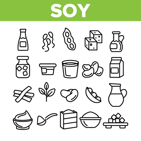 Soy Products, Food Linear Vector Icons Set. Vegetarian Soy Food Symbols Pack. Vegan Ingredients Pictograms Collection. Isolated Cooking Signs. Eco, Natural meat substitutes Items Outline Illustrations