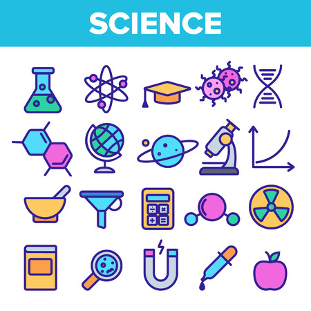 Science Line Icon Set Vector. Analysis Graphic Silhouette. Science Laboratory Icons. Thin Outline Illustration
