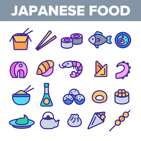 Japanese Food, Sushi Linear Vector Icons Set. Sushi Bar, Japanese Food Restaurant Thin Line Contour Symbols Pack. Asian Dishes. Nigiri, Nori, Udon, Sashimi and Miso. Seafood Outline Illustrations
