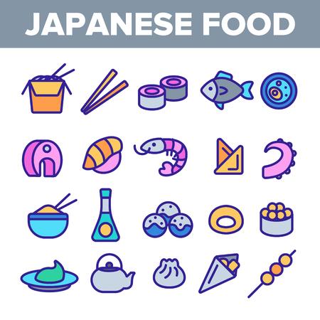 Japanese Food, Sushi Linear Vector Icons Set. Sushi Bar, Japanese Food Restaurant Thin Line Contour Symbols Pack. Asian Dishes. Nigiri, Nori, Udon, Sashimi and Miso. Seafood Outline Illustrations