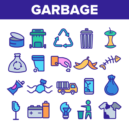 Garbage Recycling Linear Vector Icons Set. Trash, Garbage Thin Line Contour Symbols Pack. Earth Pollution Pictograms Collection. Environment Contamination. Hazardous Waste Outline Illustrations Ilustrace