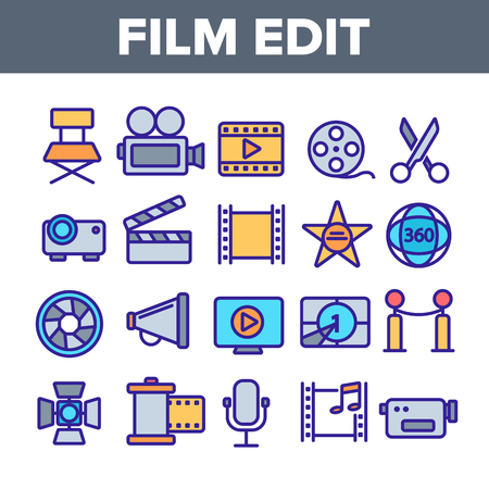 Film Edit, Filmmaking Linear Vector Icons Set. Movie Shooting, Editing Thin Line Symbols Pack. Videotaping Pictograms. Cinematography and Motion picture. Video Production Outline Contour Illustrations