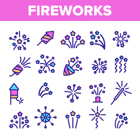 Fireworks, Firecrackers Thin Line Icons Vector Set. Pyrotechnics, Fireworks Linear Illustrations. New Year, Birthday, Anniversary Party Firecrackers, Rockets Contour Symbols. Isolated Outline Cliparts