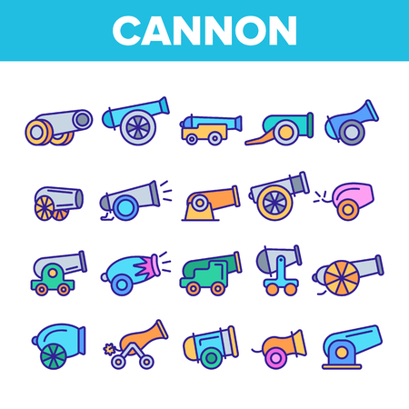 Old Cannons, Artillery Linear Icons Vector Set. Historic Weapon, War Cannons, Guns Thin Line Illustrations Pack. Ancient, Antique Firearm. Battlefield, Military Equipment Isolated Outline Symbols