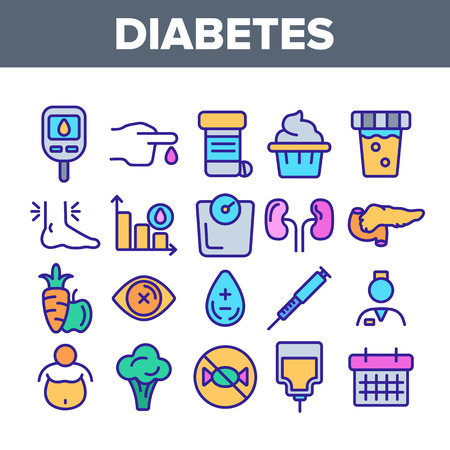 Diabetes, Disease Diagnostics Linear Vector Icons Set. Diabetes, Mellitus Thin Line Contour Symbols Pack. Illness Treatment Pictograms Collection. Blood Sugar Measurement Tools Outline Illustrations