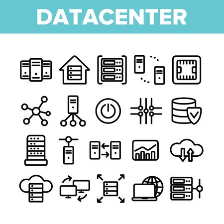 Centro de datos, conjunto de iconos de Vector lineal de tecnología. Análisis de datos, paquete de símbolos de contorno de líneas finas de acceso remoto. Computación en la nube, colección de pictogramas de redes. Hosting Business Outline Ilustraciones Ilustración de vector