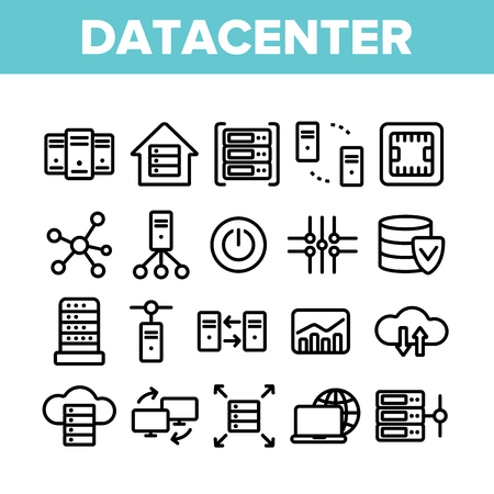 Data Center, Technology Linear Vector Icons Set. Data Analytics, Remote Access Thin Line Contour Symbols Pack. Cloud Computing, Networking Pictograms Collection. Hosting Business Outline Illustrations Illustration