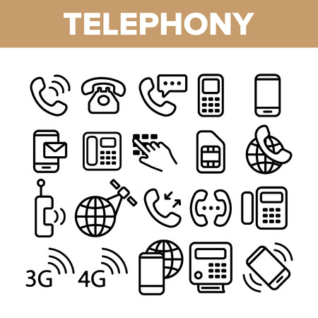 Global Telephony System Linear Vector Icons Set. Telephony, Mobile Technology Thin Line Contour Symbols Pack. Worldwide Connection Pictograms Collection. Communication Equipment Outline Illustrations