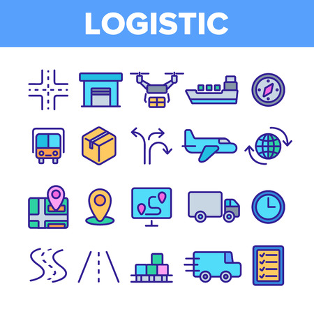 Global Logistic Department Linear Vector Icons Set. Logistic Management, Delivery Service Thin Line Contour Symbols Pack. Distribution Business Pictograms Collection. Shipping Outline Illustrations