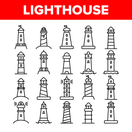 Lighthouse, Sea Beacon Linear Vector Icons Set. Lighthouse, Signal Light House Thin Line Contour Symbols Pack. Sailor Safety Warning Pictograms Collection. Tower with Searchlight Outline Illustrations