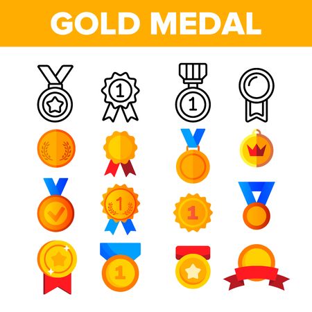 Golden, Bronze Medals Vector Color Icons Set. Medals, Competition Winner Rewards. First, Second, Third Place Awards Linear Symbols Pack. Victory, Achievement, Success Isolated Flat Illustrations Illustration