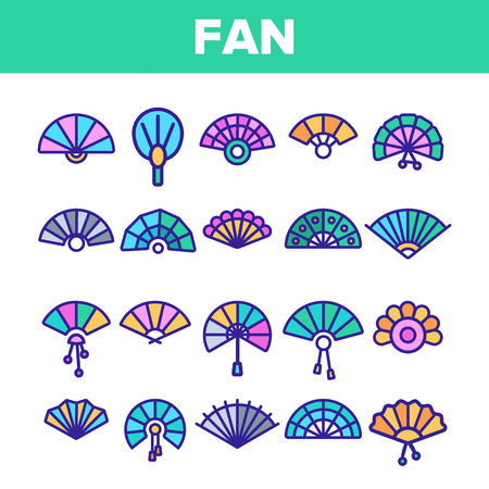 Handheld Elegant Fans Vector Linear Icons Set. Ancient Women Foldable Fans Outline Symbols Pack. Japanese Traditional Festival Accessory. Chinese Classic Souvenir Isolated Contour Illustrations