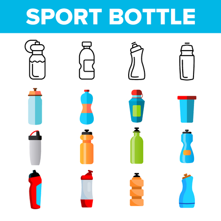 Sport Bottle, Fitness Accessory Vector Thin Line Icons Set. Sport Bottle, Plastic, Metal Container for Water Linear Pictograms. Reusable Accessory to Quench Thirst in Gym Color Symbols Collection