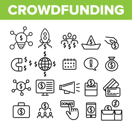 Crowdfunding, Collective Investment Vector Linear Icons Set. Crowd Funding, Startup Financing. Money Saving, Donation Outline Symbols Pack. Financial Support Isolated Contour Illustrations