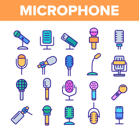 Modern And Vintage Microphone Vector Linear Icons Set. Professional Microphone Outline Symbols Pack. Music And Voice Recording, Sound Editing. Various Mics Isolated Contour Illustrations