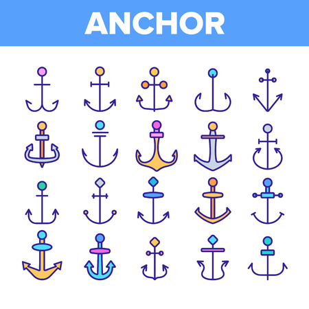 Anchors, Ship Equipment Vector Linear Icons Set. Vessel Old Anchor, Sailing Outline Symbols Pack. Cruise, Marine Shipping And Transportation. Nautical, Maritime Isolated Contour Illustrations