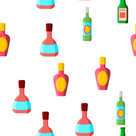 Glass Bottles Linear Vector Icons Seamless Pattern. Plastic, Glass Bottles Contour Symbols Pack. Alcohol Simple Color Pictograms Collection. Wine, Beer, Soda Flat illustrations