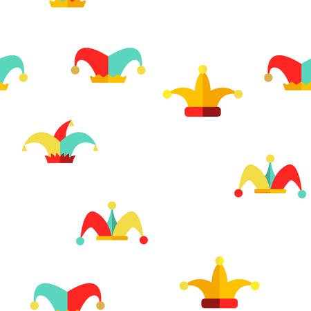 Modèle sans couture d'icônes vectorielles linéaires de chapeau de bouffon drôle. Jester, Clown Caps avec Bells Thin Line Contour Symboles Pack. Collection de pictogrammes de costumes d'arlequin. Cirque, Illustrations de carnaval médiéval Vecteurs