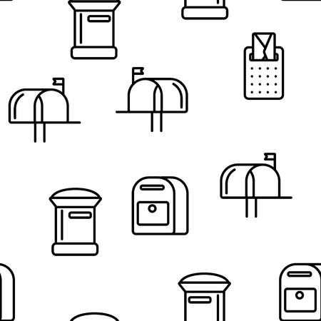 Mail Box, Post Linear And Flat Vector Icons Seamless Pattern. Mailboxes, Sending Letters, Correspondence Illustrations Collection. Email Delivery Services Logo Pack. Letterboxes Symbols