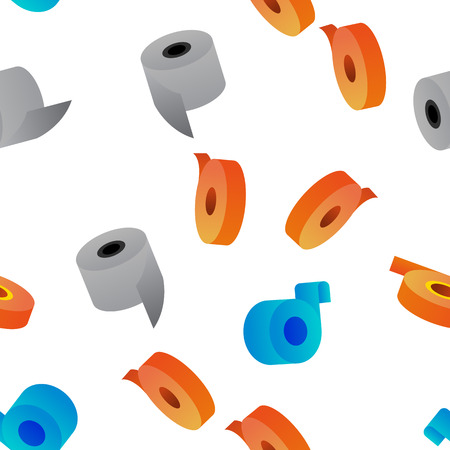 Sticky Tape Rolls Vector Color Icons Seamless Pattern. Adhesive Tape Roll, Office Supply, Stationery Linear Symbols Pack. Masking tape, Plaster. Decorative Ribbons, Bandage Illustrations Vektorové ilustrace