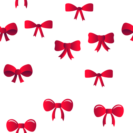 Red Bow And Ribbon Vector Color Icons Seamless Pattern. Decorative Bow, Female Hair and Clothes Accessories Linear Symbols Pack. Presents And Festive Gifts Packaging Decor Illustrations Vektorové ilustrace