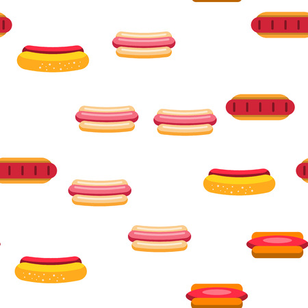 Hot Dog, Burger Vector Color Icons Seamless Pattern. Hotdog With Sausage, Bread And Sauce Linear Symbols Pack. Takeout, Takeaway Unhealthy Eating, Fastfood. Delicious Street, Junk Illustrations Illustration