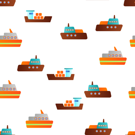 Ferry, Vessel And Ship Vector Color Icons Seamless Pattern. Ferry Front And Side View Linear Symbols Pack. International Cargo Transportation, Shipment. Logistics And Distribution Illustrations