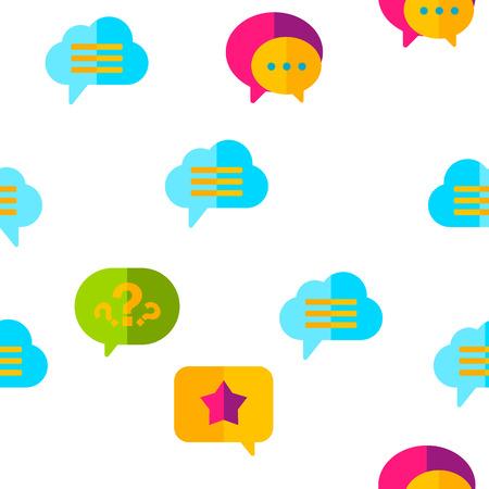 Speech Bubble Icon Seamless Pattern Vector. Chat Dialog Conversation Speech Bubbles Icons. App Pictogram. Social Message UI Shape. Illustration