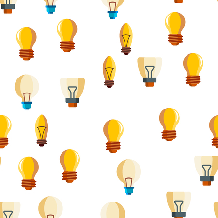Light Bulbs Flat And Linear Icons Vector Seamless Pattern. Energy Saving, Efficient And Classical Lightbulbs Illustrations Collection. Idea, Innovation, Electricity Contour Symbols. Lamps Illustration