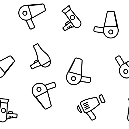 Hair Dryer Appliance Vector Color Icons Seamless Pattern. Modern and Retro Hairdryers Linear Symbols Pack. Beauty Parlor, Hairdresser Salon Equipment. Hair Styling Professional Tool Illustrations Illustration