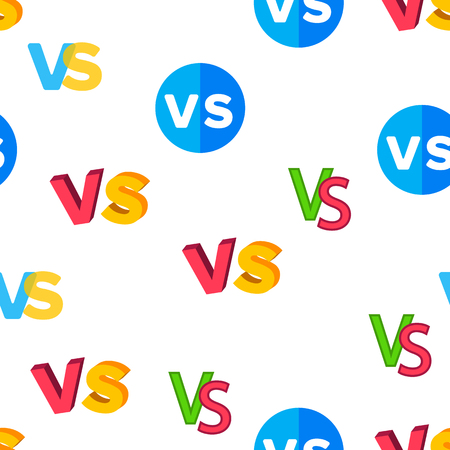 VS Abbreviation, Versus Vector Color Icons Seamless Pattern. VS Phrase In Comic Style Linear Symbols Pack. Letters In Speech Bubble. Confrontation, Fighting And Sports Competition Illustrations