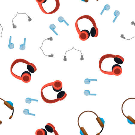 Headphones Icon Seamless Pattern Vector. Audio Stereo Headphones Icons. Volume Symbol. Listen Music. Acoustic Accessory. Illustration