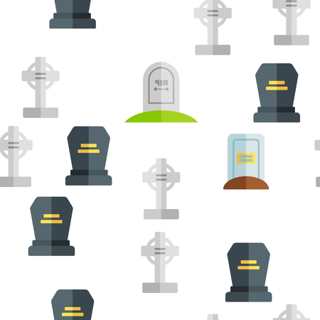 Headstone, Gravestone, Tombstone Vector Color Icons Seamless Pattern. Headstone, Granite Grave, Cross Linear Symbols Pack. Christian Burial Tradition. Cemetery, Graveyard Illustration