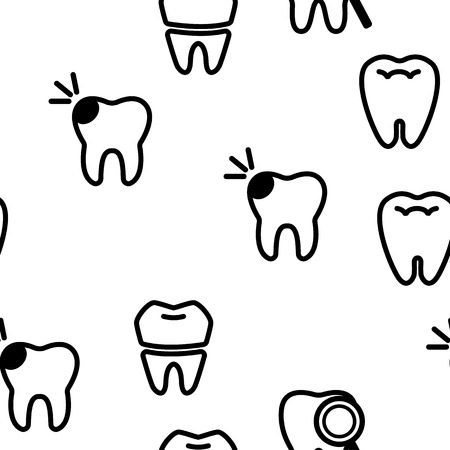 Tooth Icon Seamless Pattern Vector. Dental Draphic. Oral Medical Care. Mouth Tooth Pain Icon. Illustration