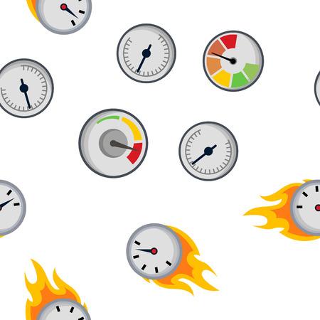 Speedometer Icon Seamless Pattern Vector. Speed Symbol. Auto Power. Automobile Interface. Transportation Element. Fast Indicator. Measure Progress Km. Line, Illustration