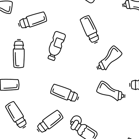 Sport Bottle, Fitness Accessory Vector Thin Line Icons Seamless Pattern. Sport Bottle, Plastic, Metal Container for Water Linear Pictograms. Reusable Accessory to Quench Thirst in Gym Color Collection
