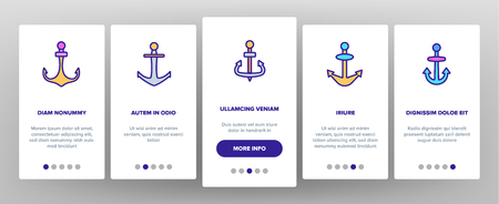 Anchors, Ship Equipment Vector Onboarding Mobile App Page Screen. Vessel Old Anchor, Sailing. Cruise, Marine Shipping And Transportation. Nautical, Maritime Illustration